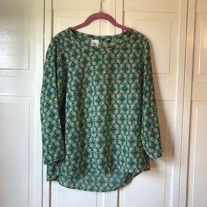 Cabi Jade Sheer Blouse Leaf Print, size Medium